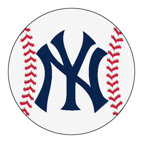 "27"" White and Blue MLB New York Yankees Baseball Mat Area Rug - IMAGE 1"