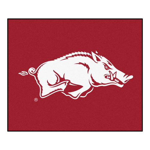 "59.5"" x 71"" Red and White NCAA University of Arkansas Razorbacks Tailgater Outdoor Area Rug - IMAGE 1"