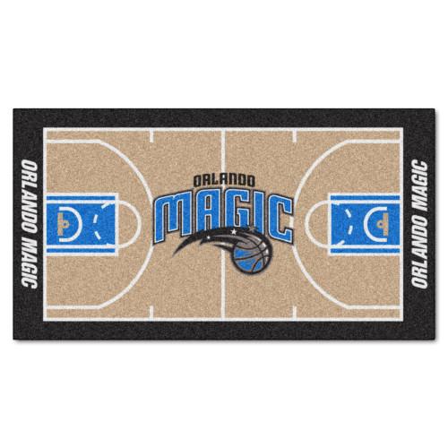 2.4' x 4.5' Blue and Black NBA Orlando Magic Basketball Court Mat Area Throw Rug Runner - IMAGE 1