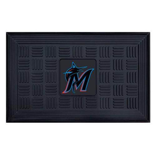 "19.5"" x 31.25"" Black and Blue MLB Miami Marlins Team Medallion Outdoor Door Mat - IMAGE 1"
