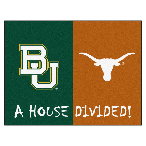 """33.75"""" x 42.5"""" Green and White NCAA House Divided Non-Skid Mat Rectangular Area Rug - IMAGE 1"""