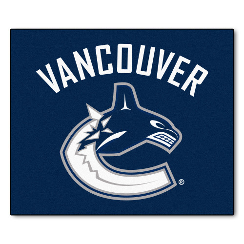 5' x 6' Blue and White NHL Vancouver Canucks Tailgater Mat Rectangular Outdoor Area Rug - IMAGE 1