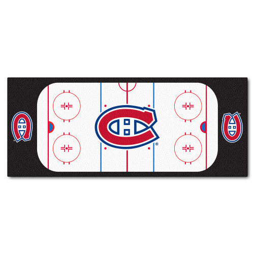 "30"" x 72"" Black and Red NHL Canadiens Rink Non-Skid Mat Area Rug Runner - IMAGE 1"
