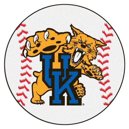 "27"" White and Blue NCAA University of Kentucky Wildcats Baseball Mat Round Area Rug - IMAGE 1"