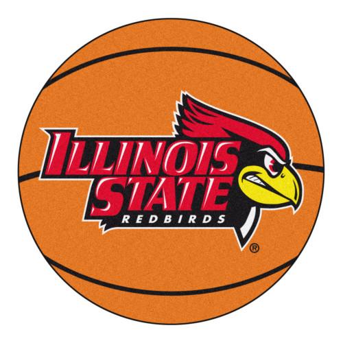 "27"" Orange and Red NCAA Illinois State University Redbirds Basketball Shaped Mat Area Rug - IMAGE 1"
