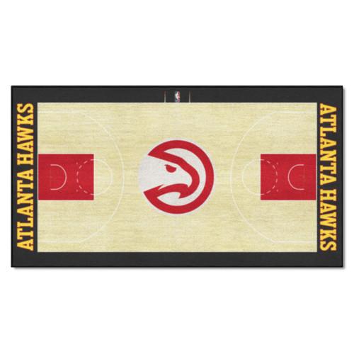 2.4' x 4.5' Brown and Red NBA Atlanta Hawks Non-Skid Area Rug Runner - IMAGE 1