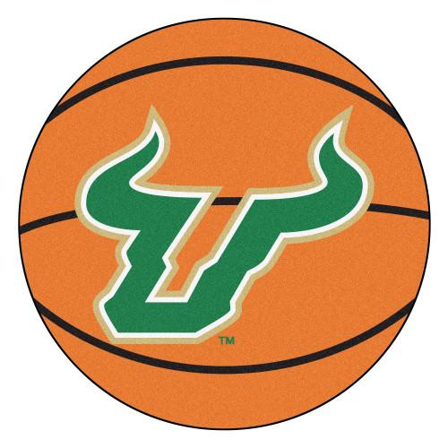 NCAA University of South Florida Bulls Basketball Shaped Mat Area Rug - IMAGE 1