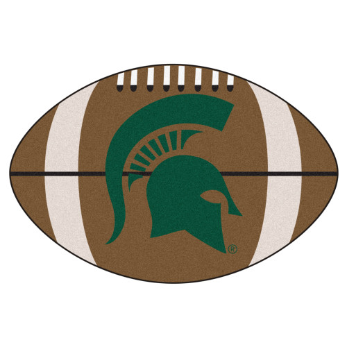 """20.5"""" x 32.5"""" Brown and Green NCAA Michigan State University Spartans Football Mat - IMAGE 1"""