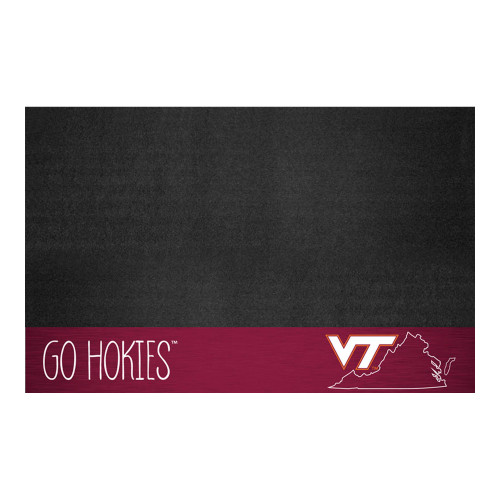 "26"" x 42"" Black and Pink NCAA Virginia Tech Hokies Grill Mat Outdoor Area Rug - IMAGE 1"