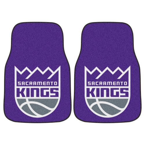 "Set of 2 Purple and White NBA Sacramento Kings Carpet Car Mats 17"" x 27"" - IMAGE 1"