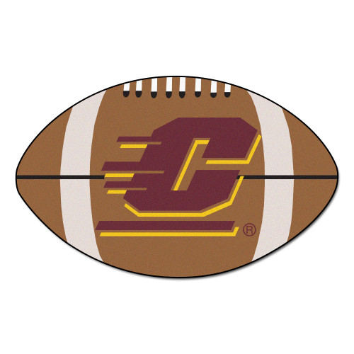 """20.5"""" x 32.5"""" Brown and White NCAA Central Michigan University Chippewas Oval Mat - IMAGE 1"""