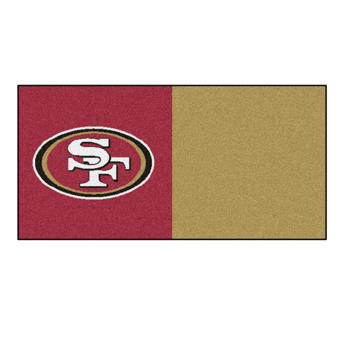 "20pc Gold and Red NFL San Francisco 49ers Team Carpet Tile Set 18"" x 18"" - IMAGE 1"
