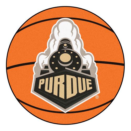 "27"" Orange and White NCAA Purdue University Boilermakers Basketball Shaped Mat Area Rug - IMAGE 1"