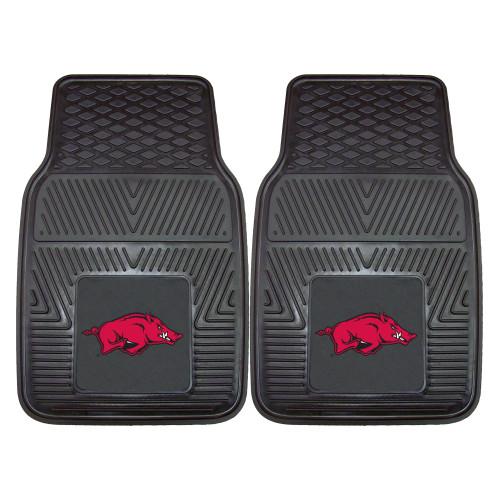 "Set of 2 Black and Red NCAA University of Arkansas Razorbacks Car Mats 17"" x 27"" - IMAGE 1"