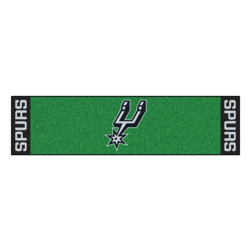 """18"""" x 72"""" Green and Black NBA San Antonio Spurs Rectangular Golf Putting Mat - IMAGE 1"""