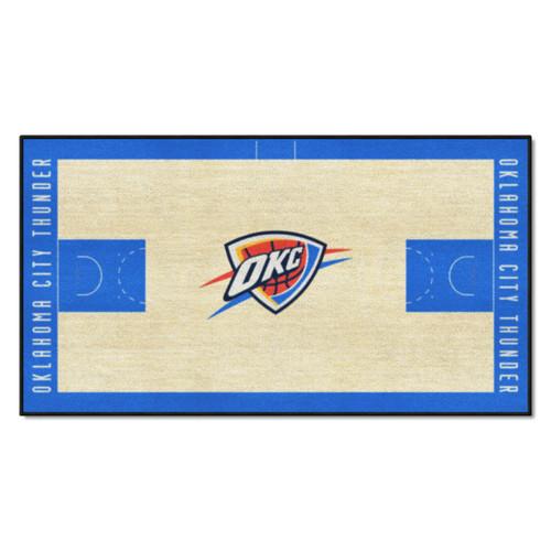 "24"" x 44"" Beige and Blue NBA Oklahoma City Thunder Court Rug Runner - IMAGE 1"