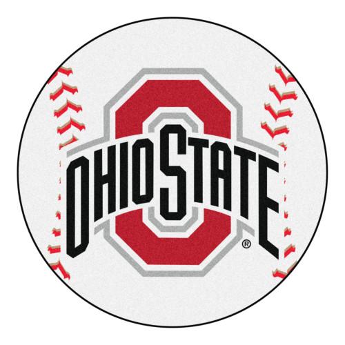 "27"" White and Red NCAA Ohio State University Buckeyes Baseball Mat - IMAGE 1"