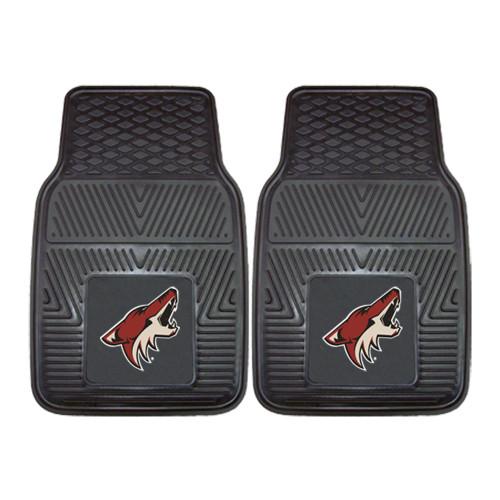 "Set of 2 Black and Red NHL Arizona Coyotes Front Carpet Car Mats 17"" x 27"" - IMAGE 1"