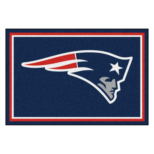 4.9' x 7.3' Blue and Red NFL New England Patriots Rectangular Plush Area Rug - IMAGE 1