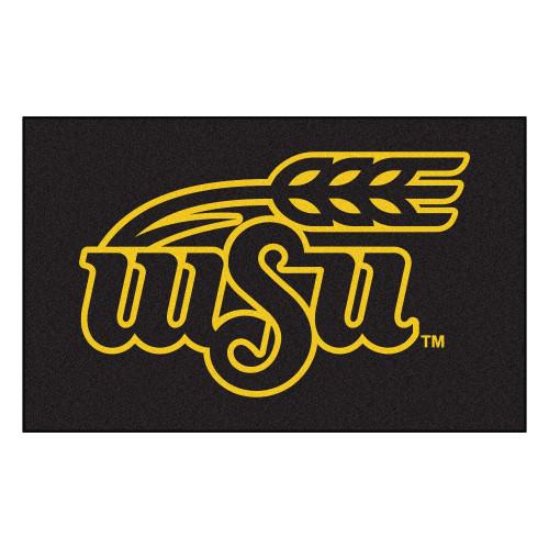 5' x 8' Black and Yellow NCAA Wichita State University Shockers Rectangular Outdoor Area Rug - IMAGE 1