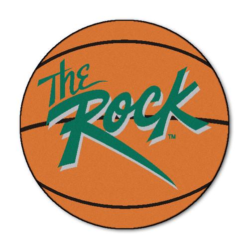 "27"" Orange and Green NCAA Slippery Rock University The Rock Basketball Shaped Area Rug - IMAGE 1"