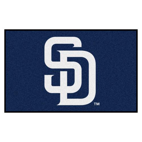 "59.5"" x 94.5"" Blue and White MLB San Diego Padres Ulti-Mat Rectangular Area Rug - IMAGE 1"