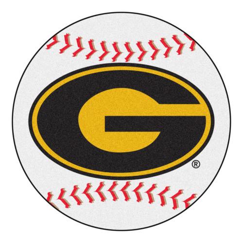 "27"" Yellow and Red NCAA Grambling State University Tigers Baseball Shape Round Mat - IMAGE 1"