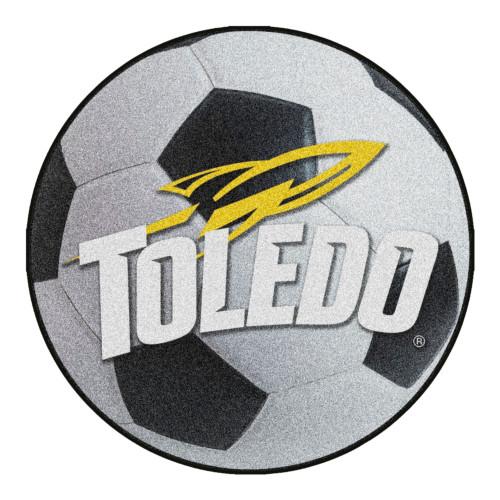 "27"" Gray and White NCAA University of Toledo Rockets Soccer Ball Mat Area Rug - IMAGE 1"