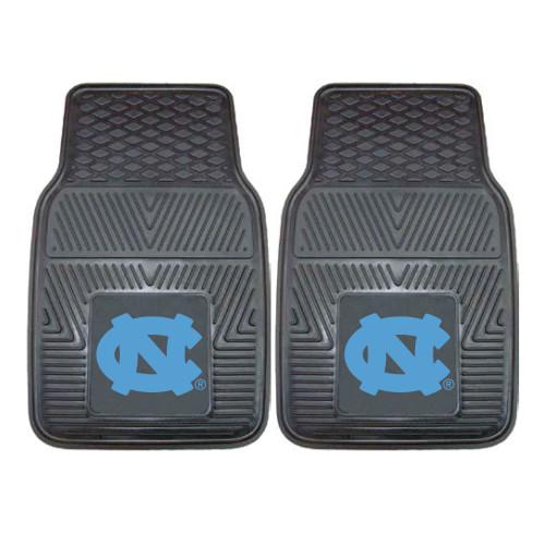 "Set of 2 Black and Blue NCAA University of North Carolina Chapel Hill Tar Heels Car Mats 17"" x 27"" - IMAGE 1"