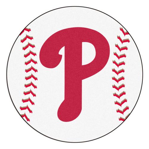 "White and Red MLB Philadelphia Phillies Round Baseball Welcome Door Mat 27"" - IMAGE 1"