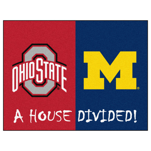 """33.75"""" x 42.5"""" Red and Blue NCAA Ohio State - Michigan Cornhuskers House Divided Mat - IMAGE 1"""