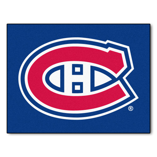 """33.75"""" x 42.5"""" Blue and Red NHL Montreal Canadiens All Star Non-Skid Mat Rectangular Area Rug - IMAGE 1"""