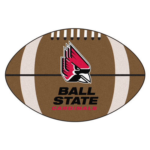 """20.5"""" x 32.5"""" Brown and Red Contemporary NCAA Ball State University Cardinals Football Mat - IMAGE 1"""