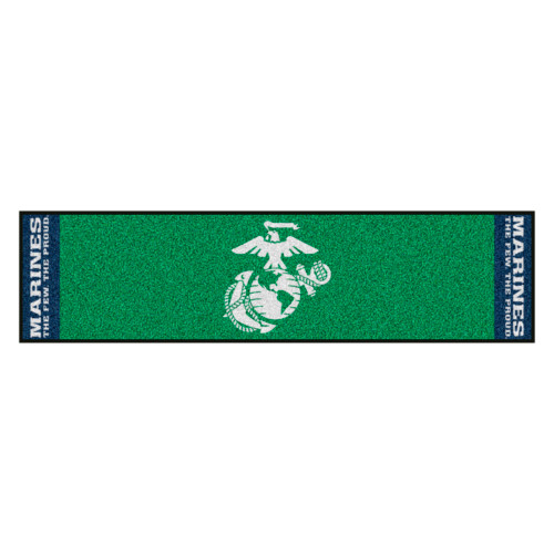 "18"" x 72"" Green and Blue U.S. Marines Mat Golf Accessory - IMAGE 1"