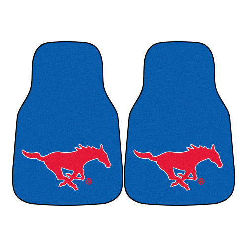 """Set of 2 Blue and Red NCAA Southern Methodist University Mustangs Front Carpet Car Mats 17"""" x 27"""" - IMAGE 1"""