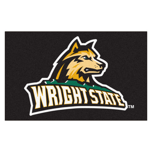 "59.5"" x 94.5"" Black and White NCAA Wright State University Raiders Ulti-Mat Rectangular Mat - IMAGE 1"