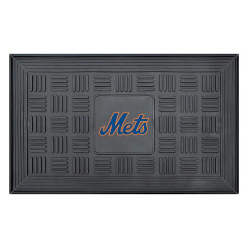 "19.5"" x 31.25"" Black and Blue MLB New York Mets Team Medallion Outdoor Door Mat - IMAGE 1"