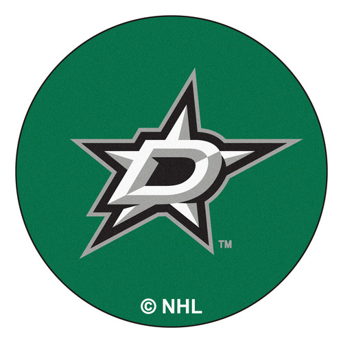 """27"""" Green and Black NHL Dallas Stars Puck Mat Round Area Rug - IMAGE 1"""