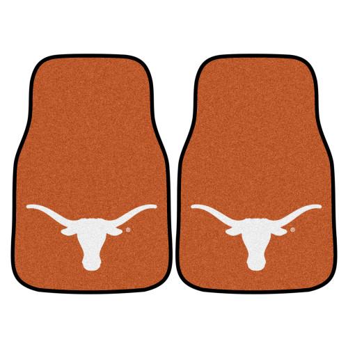 "Set of 2 Brown and White NCAA University of Texas Longhorns Carpet Car Mats 17"" x 27"" - IMAGE 1"