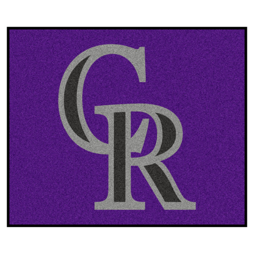 """59.5"""" x 71"""" Purple and Gray MLB Colorado Rockies Tailgater Outdoor Area Rug - IMAGE 1"""