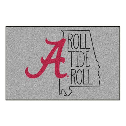 "19"" x 30"" Gray and Pink NCAA University of Alabama Crimson Tide Rectangular Area Rug - IMAGE 1"