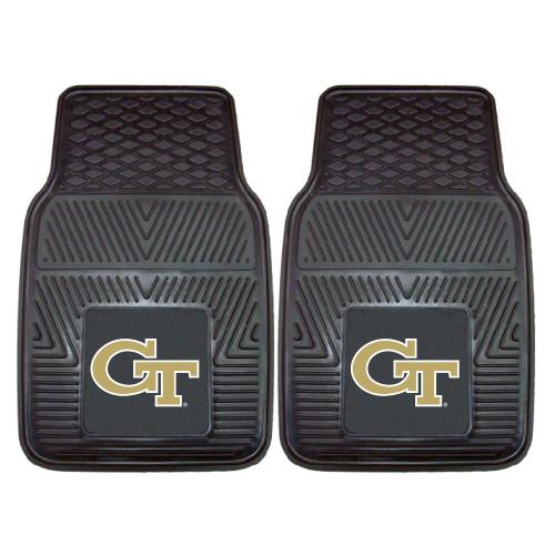 "Set of 2 Black and Beige NCAA Georgia Tech Yellow Jackets Car Mats 17"" x 27"" - IMAGE 1"