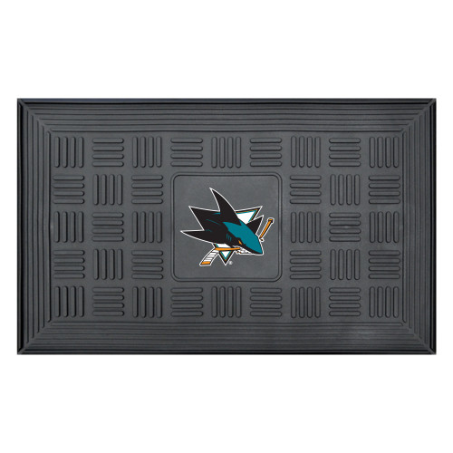 "19.5"" x 31.25"" Gray Medallion NHL San Jose Sharks 3-D Team Door Mat - IMAGE 1"