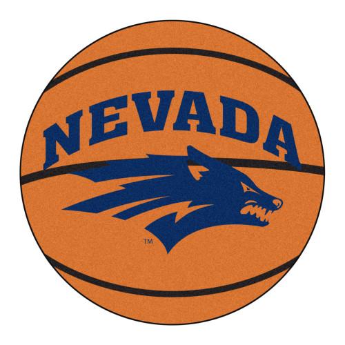 """27"""" x 27"""" Orange NCAA University of Nevada Wolf Pack Basketball Round Tufted Mat - IMAGE 1"""