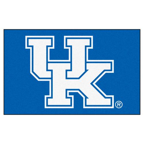 "59.5"" x 94.5"" Blue and White NCAA University of Kentucky Wildcats Rectangular Area Rug - IMAGE 1"