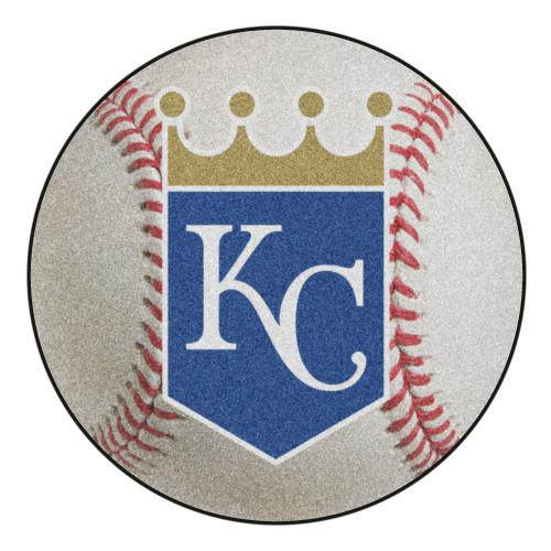 """27"""" Gray and Blue MLB Kansas City Royals Baseball Mat Area Rug - IMAGE 1"""
