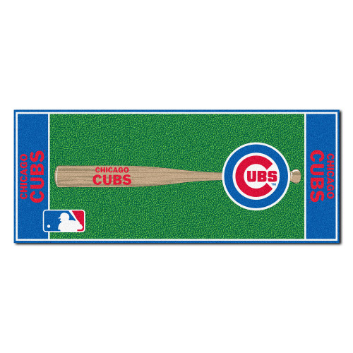 """30"""" x 72"""" Blue and Green MLB Chicago Cubs Non-Skid Baseball Mat Area Rug Runner - IMAGE 1"""