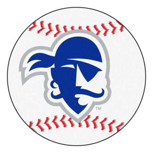 "27"" White and Blue Contemporary NCAA Seton Hall University Pirates Baseball Round Mat - IMAGE 1"