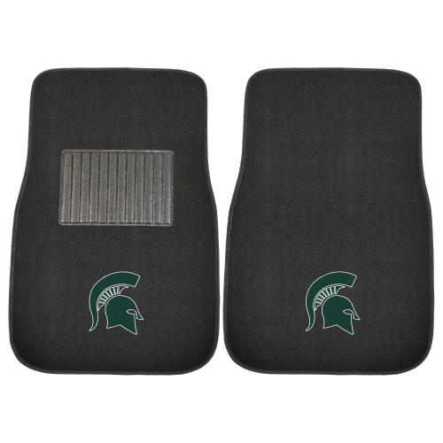 "Set of 2 Black and Green NCAA Michigan State University Spartans Car Mats 17"" x 25.5"" - IMAGE 1"