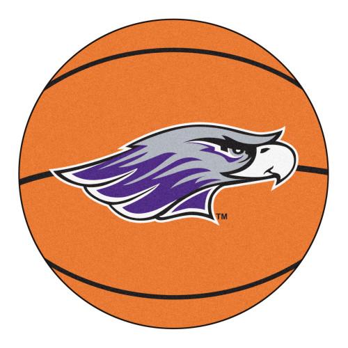 "27"" Orange and Purple NCAA University of Wisconsin Whitewater Warhawks Basketball Round Mat - IMAGE 1"